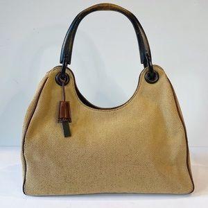 Vintage Beige Canvas Gucci Bag w/ Wooden Handle